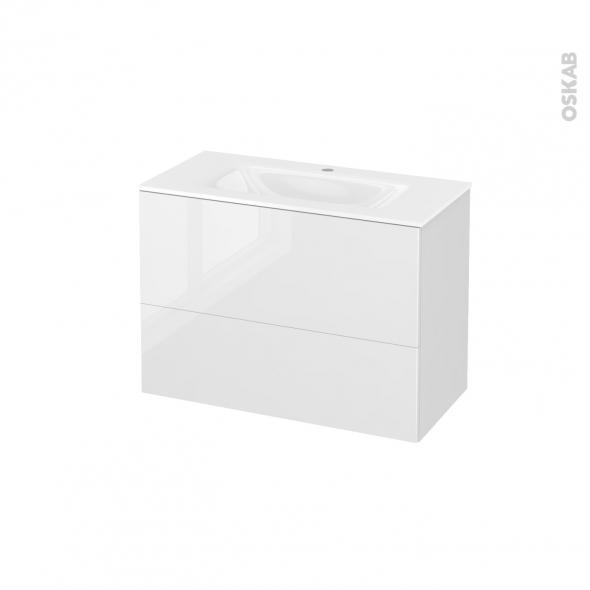 Meuble de salle de bains - Plan vasque VALA - STECIA Blanc - 2 tiroirs - Côtés décors - L80,5 x H58,2 x P40,5 cm