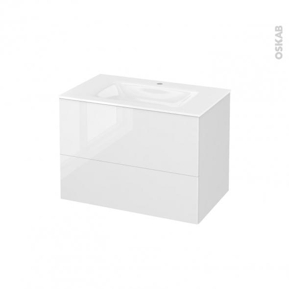 Meuble de salle de bains - Plan vasque VALA - STECIA Blanc - 2 tiroirs - Côtés décors - L80,5 x H58,2 x P50,5 cm
