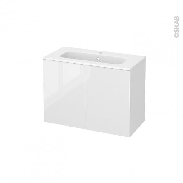 STECIA Blanc - Meuble salle de bains N°641 - Vasque REZO - 2 portes Prof.40 - L80,5xH58,5xP40,5