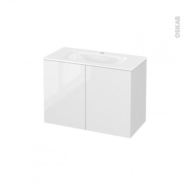 Meuble de salle de bains - Plan vasque VALA - STECIA Blanc - 2 portes - Côtés blancs - L80,5 x H58,2 x P40,5 cm