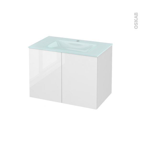STECIA Blanc - Meuble salle de bains N°642 - Vasque EGEE - 2 portes  - L80,5xH58,2xP50,5