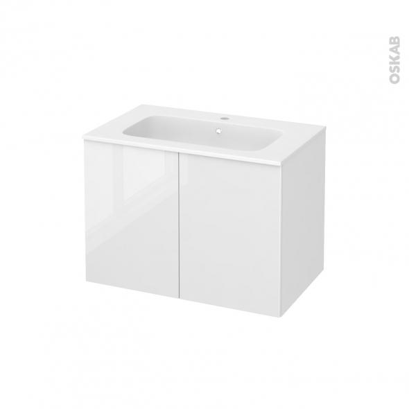 STECIA Blanc - Meuble salle de bains N°642 - Vasque REZO - 2 portes  - L80,5xH58,5xP50,5