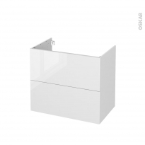 Meuble de salle de bains - Sous vasque - BORA Blanc - 2 tiroirs - Côtés blancs - L80 x H70 x P50 cm