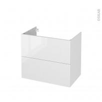 Meuble de salle de bains - Sous vasque - STECIA Blanc - 2 tiroirs - Côtés décors - L80 x H70 x P50 cm