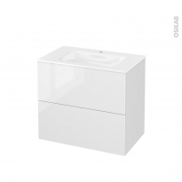 Meuble de salle de bains - Plan vasque VALA - STECIA Blanc - 2 tiroirs - Côtés décors - L80,5 x H71,2 x P50,5 cm