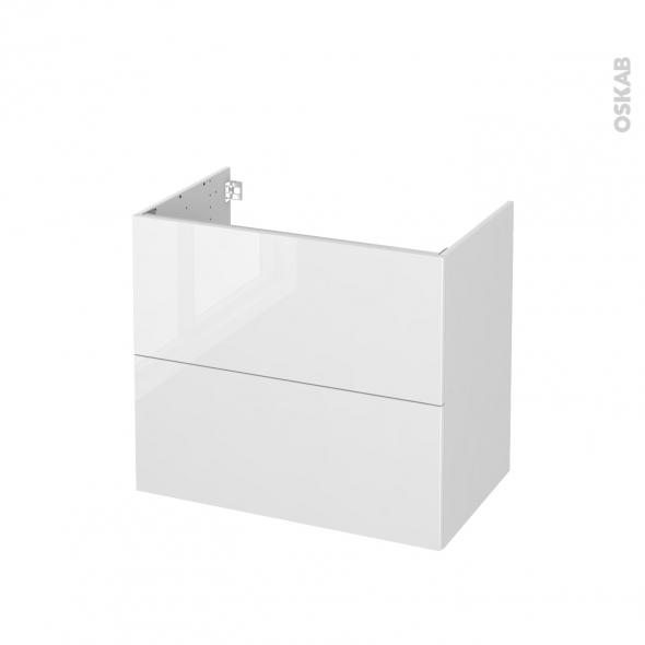 Meuble de salle de bains - Sous vasque - STECIA Blanc - 2 tiroirs - Côtés blancs - L80 x H70 x P50 cm