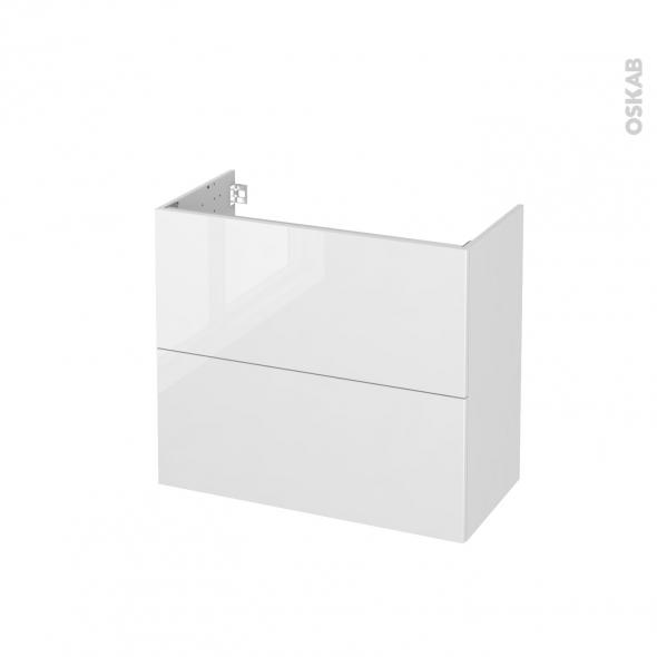 Meuble de salle de bains - Sous vasque - STECIA Blanc - 2 tiroirs - Côtés décors - L80 x H70 x P40 cm