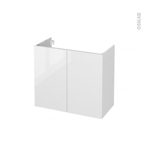 Meuble de salle de bains - Sous vasque - STECIA Blanc - 2 portes - Côtés blancs - L80 x H70 x P40 cm