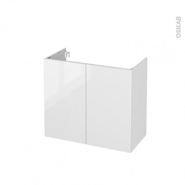 Meuble de salle de bains - Sous vasque - BORA Blanc - 2 portes - Côtés décors - L80 x H70 x P40 cm