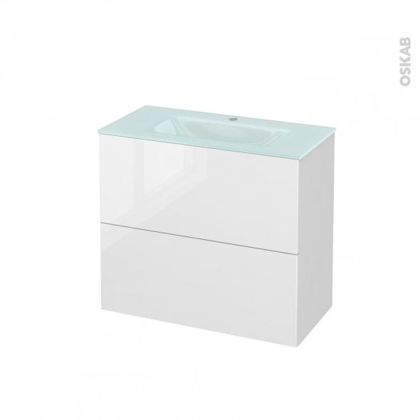 Meuble de salle de bains - Plan vasque EGEE - STECIA Blanc - 2 tiroirs - Côtés blancs - L80,5 x H71,2 x P40,5 cm