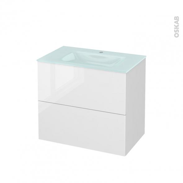 STECIA Blanc - Meuble salle de bains N°601 - Vasque EGEE - 2 tiroirs  - L80,5xH71,2xP50,5