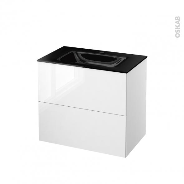 STECIA Blanc - Meuble salle de bains N°601 - Vasque OCCE - 2 tiroirs  - L80,5xH71,2xP50,5