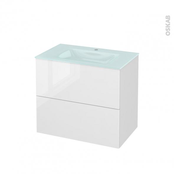 Meuble de salle de bains - Plan vasque EGEE - STECIA Blanc - 2 tiroirs - Côtés décors - L80,5 x H71,2 x P50,5 cm