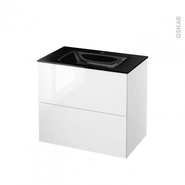 STECIA Blanc - Meuble salle de bains N°602 - Vasque OCCE - 2 tiroirs  - L80,5xH71,2xP50,5