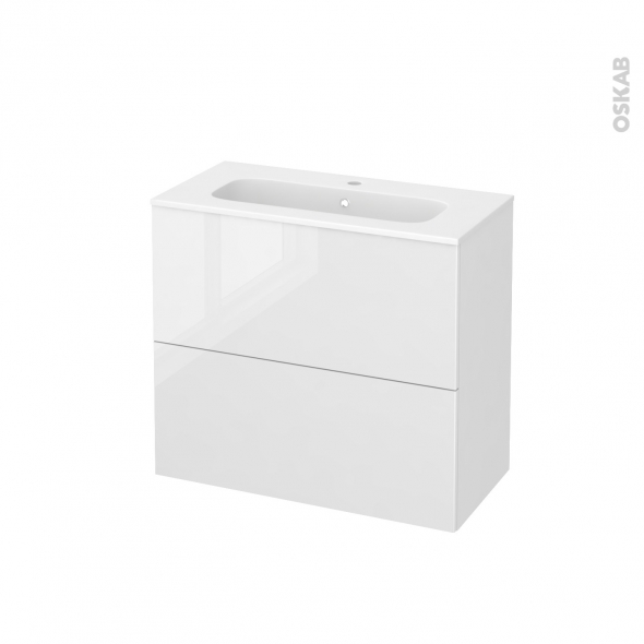 STECIA Blanc - Meuble salle de bains N°602 - Vasque REZO - 2 tiroirs Prof.40 - L80,5xH71,5xP40,5