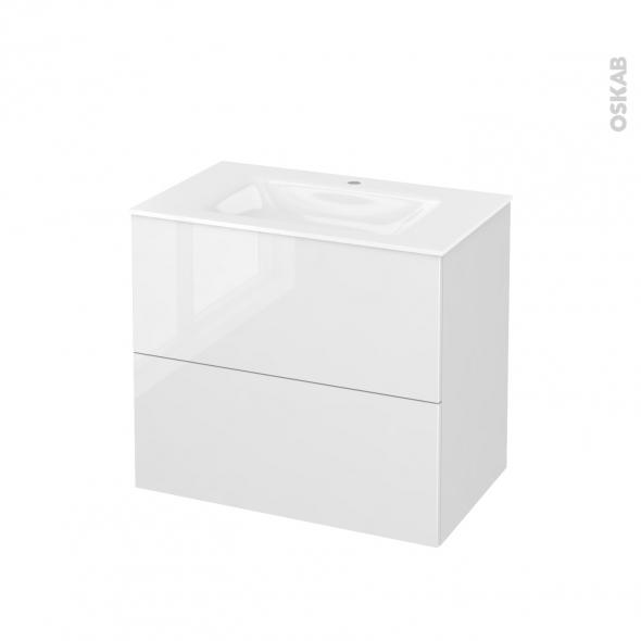 Meuble de salle de bains - Plan vasque VALA - BORA Blanc - 2 tiroirs - Côtés décors - L80,5 x H71,2 x P50,5 cm