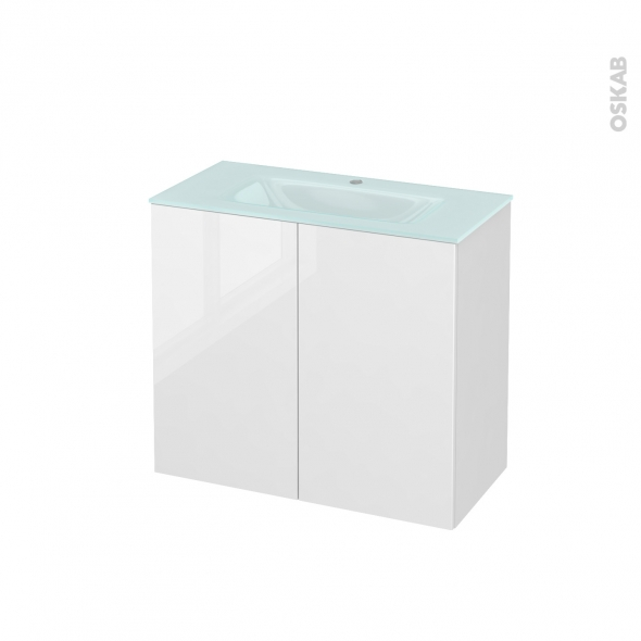 STECIA Blanc - Meuble salle de bains N°702 - Vasque EGEE - 2 portes Prof.40 - L80,5xH71,2xP40,5