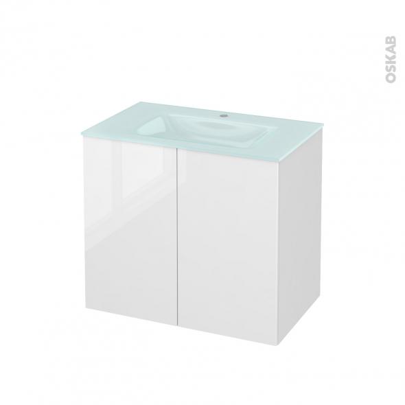 STECIA Blanc - Meuble salle de bains N°702 - Vasque EGEE - 2 portes  - L80,5xH71,2xP50,5