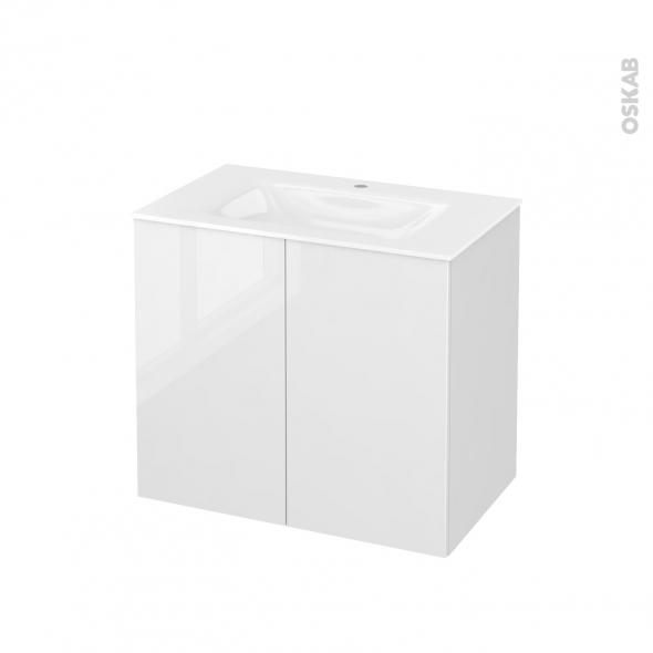 STECIA Blanc - Meuble salle de bains N°702 - Vasque VALA - 2 portes  - L80,5xH71,2xP50,5