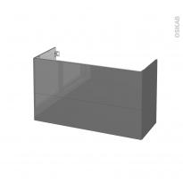 Meuble de salle de bains - Sous vasque - STECIA Gris - 2 tiroirs - Côtés décors - L100 x H57 x P40 cm