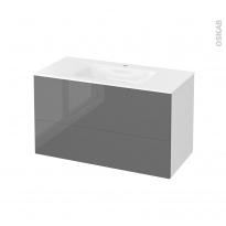 Meuble de salle de bains - Plan vasque VALA - STECIA Gris - 2 tiroirs - Côtés blancs - L100,5 x H58,2 x P50,5 cm