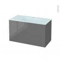 Meuble de salle de bains - Plan vasque EGEE - STECIA Gris - 2 tiroirs - Côtés décors - L100,5 x H58,2 x P50,5 cm