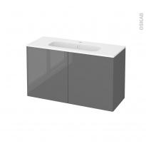 Meuble de salle de bains - Plan vasque REZO - STECIA Gris - 2 portes - Côtés décors - L100,5 x H58,5 x P40,5 cm