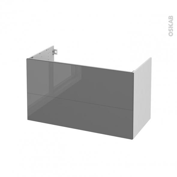 Meuble de salle de bains - Sous vasque - STECIA Gris - 2 tiroirs - Côtés blancs - L100 x H57 x P50 cm