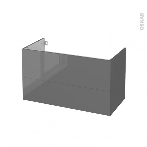 Meuble de salle de bains - Sous vasque - STECIA Gris - 2 tiroirs - Côtés décors - L100 x H57 x P50 cm