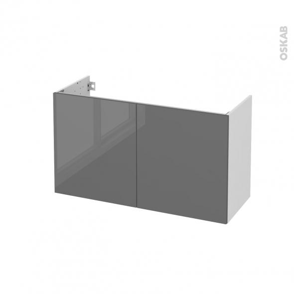 Meuble de salle de bains - Sous vasque - STECIA Gris - 2 portes - Côtés blancs - L100 x H57 x P40 cm