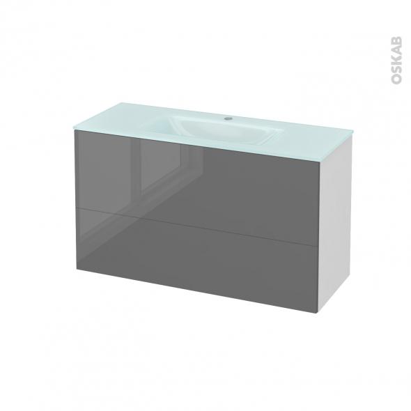 Meuble de salle de bains - Plan vasque EGEE - STECIA Gris - 2 tiroirs - Côtés blancs - L100,5 x H58,2 x P40,5 cm
