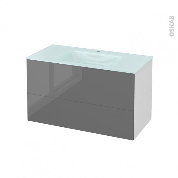 Meuble de salle de bains - Plan vasque EGEE - STECIA Gris - 2 tiroirs - Côtés blancs - L100,5 x H58,2 x P50,5 cm