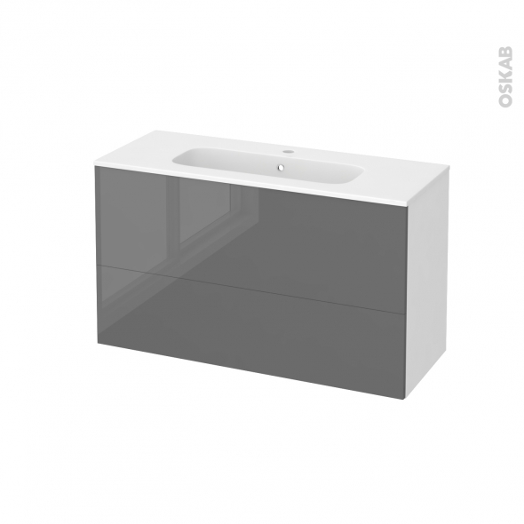 STECIA Gris - Meuble salle de bains N°651 - Vasque REZO - 2 tiroirs Prof.40 - L100,5xH58,5xP40,5