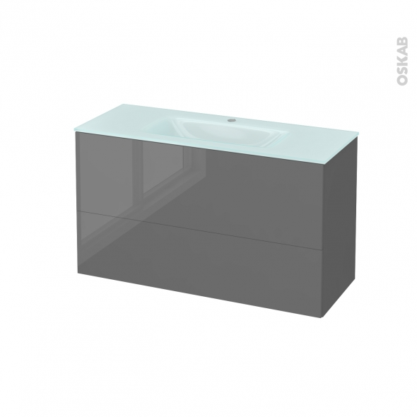 Meuble de salle de bains - Plan vasque EGEE - STECIA Gris - 2 tiroirs - Côtés décors - L100,5 x H58,2 x P40,5 cm