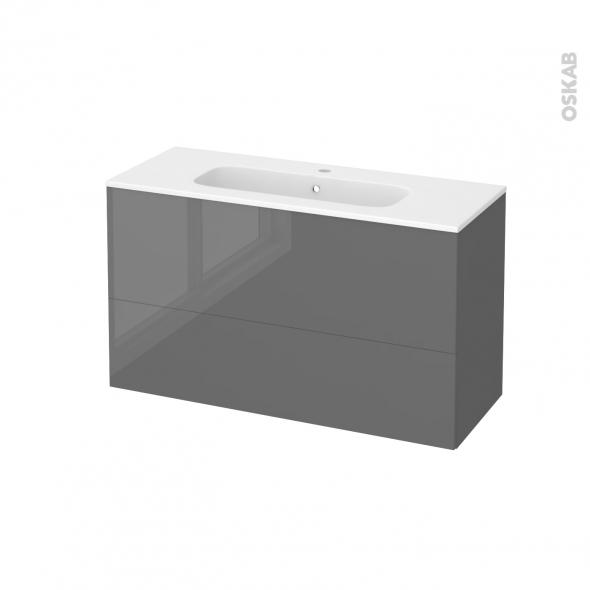 Meuble de salle de bains - Plan vasque REZO - STECIA Gris - 2 tiroirs - Côtés décors - L100,5 x H58,5 x P40,5 cm