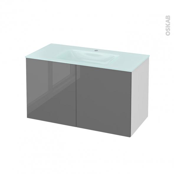 Meuble de salle de bains - Plan vasque EGEE - STECIA Gris - 2 portes - Côtés blancs - L100,5 x H58,2 x P50,5 cm