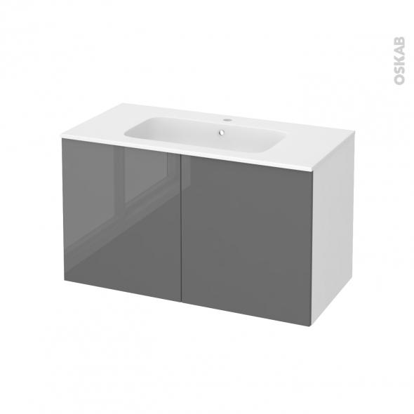 Meuble de salle de bains - Plan vasque REZO - STECIA Gris - 2 portes - Côtés blancs - L100,5 x H58,5 x P50,5 cm