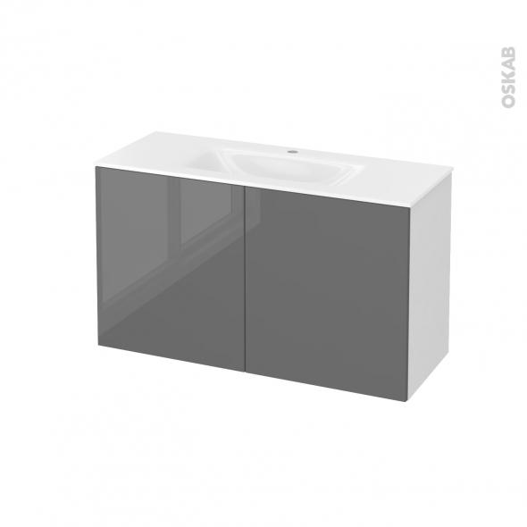 Meuble de salle de bains - Plan vasque VALA - STECIA Gris - 2 portes - Côtés blancs - L100,5 x H58,2 x P40,5 cm