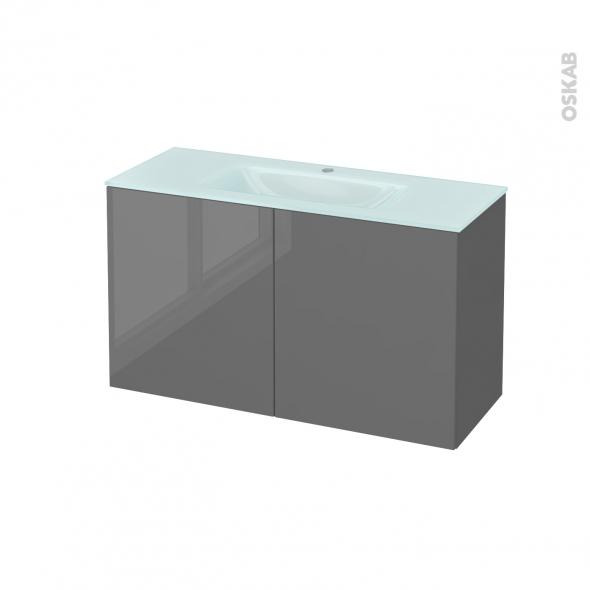 Meuble de salle de bains - Plan vasque EGEE - STECIA Gris - 2 portes - Côtés décors - L100,5 x H58,2 x P40,5 cm