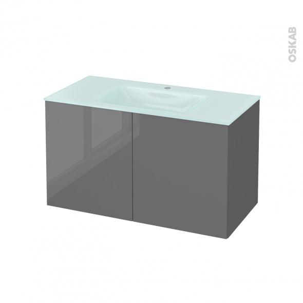 STECIA Gris - Meuble salle de bains N°662 - Vasque EGEE - 2 portes  - L100,5xH58,2xP50,5
