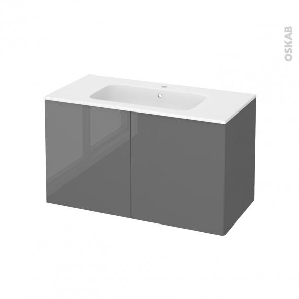Meuble de salle de bains - Plan vasque REZO - STECIA Gris - 2 portes - Côtés décors - L100,5 x H58,5 x P50,5 cm