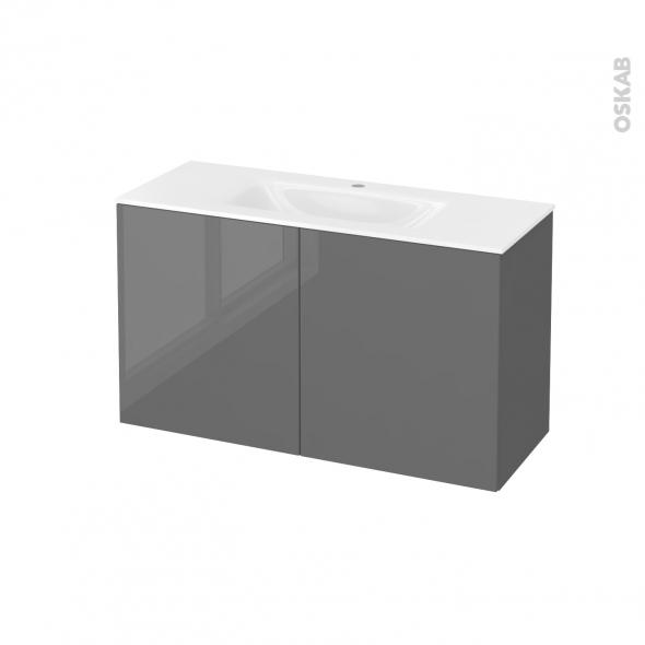 Meuble de salle de bains - Plan vasque VALA - STECIA Gris - 2 portes - Côtés décors - L100,5 x H58,2 x P40,5 cm