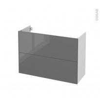 Meuble de salle de bains - Sous vasque - STECIA Gris - 2 tiroirs - Côtés blancs - L100 x H70 x P40 cm
