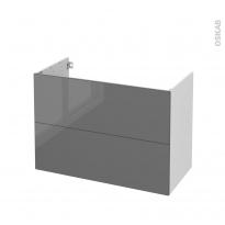 Meuble de salle de bains - Sous vasque - STECIA Gris - 2 tiroirs - Côtés blancs - L100 x H70 x P50 cm