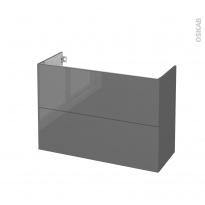 Meuble de salle de bains - Sous vasque - STECIA Gris - 2 tiroirs - Côtés décors - L100 x H70 x P40 cm