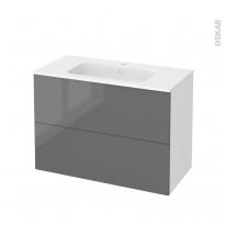 Meuble de salle de bains - Plan vasque REZO - STECIA Gris - 2 tiroirs - Côtés blancs - L100,5 x H71,5 x P50,5 cm
