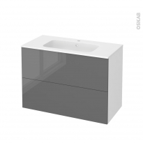 STECIA Gris - Meuble salle de bains N°611 - Vasque REZO - 2 tiroirs  - L100,5xH71,5xP50,5