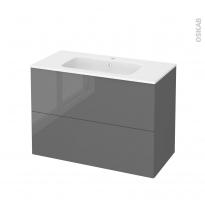 Meuble de salle de bains - Plan vasque REZO - STECIA Gris - 2 tiroirs - Côtés décors - L100,5 x H71,5 x P50,5 cm