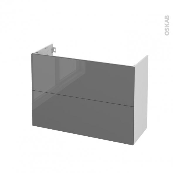 STECIA Gris - Meuble sous vasque N°611 - Côté blanc - 2 tiroirs prof.40 - L100xH70xP40