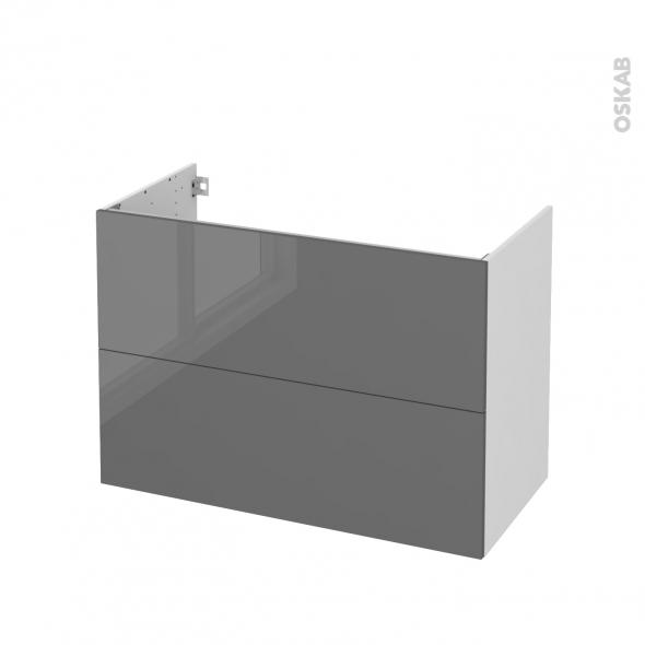 STECIA Gris - Meuble sous vasque N°611 - Côté blanc - 2 tiroirs - L100xH70xP50